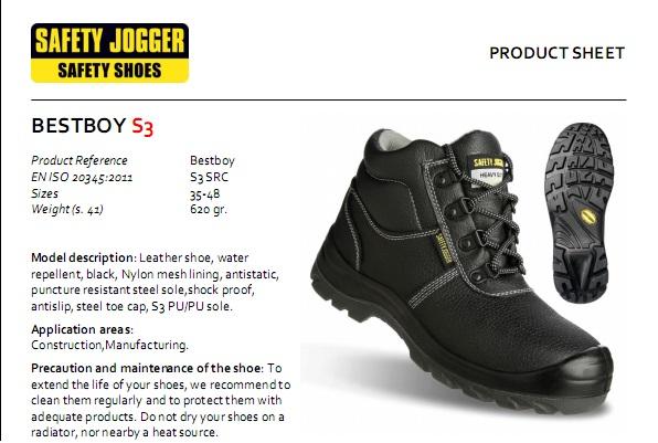 Chứng nhận tiêu chuẩn giày bảo hộ Jogger Bestboy 2 S3
